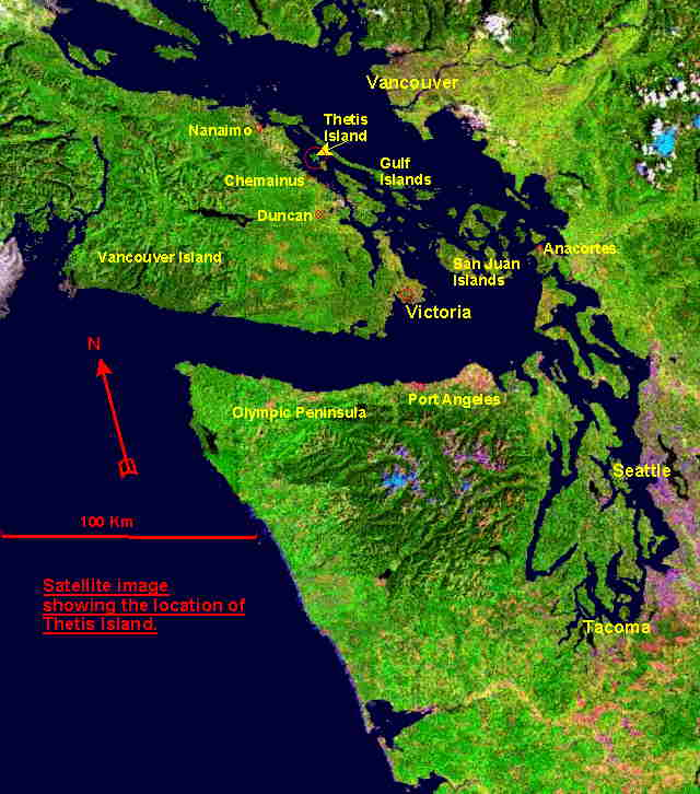 Composite sattelite image showing location of Thetis Island in the southern Gulf Islands
